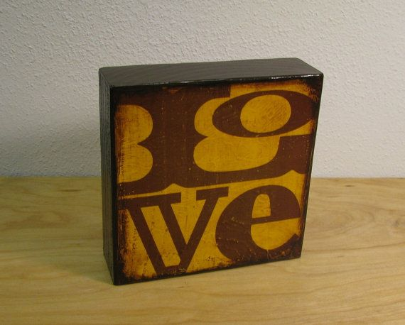 Valentines DayArt Block Painting  LOVE in yellow  by MatchBlox, $25.00