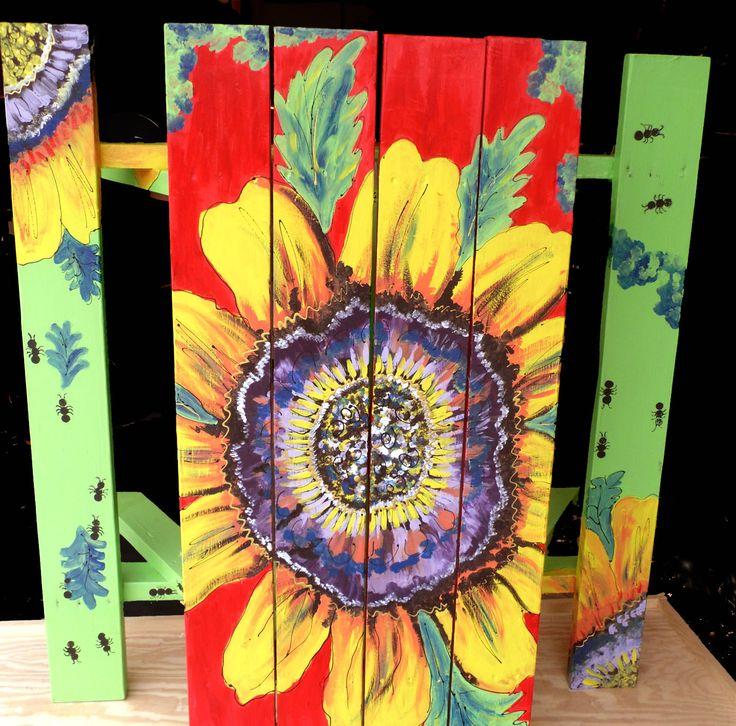 sunflower picnic table