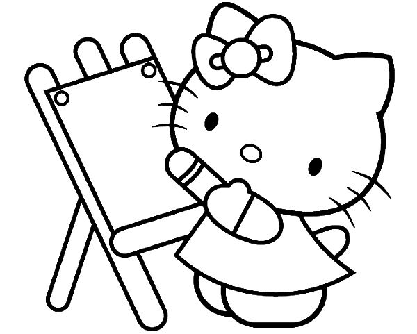 Hello Kitty Painting Beautiful Coloring Page Hello Kitty Painting Sheets