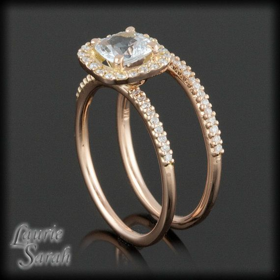 LOVE! Rose Gold Wedding Set with Cushion Cut White by LaurieSarahDesigns, $2239.65