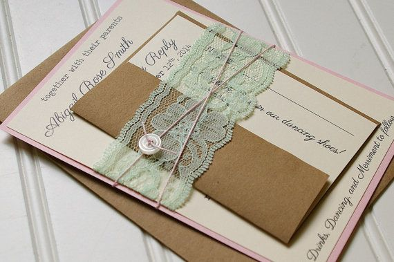 Rustic Mint And Blush Wedding Invitations Unique Handmade Lace And B