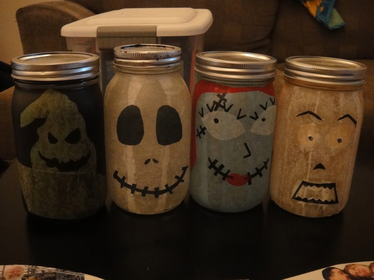 Nightmare Before Christmas mason jars :) | halloween | Pinterest
