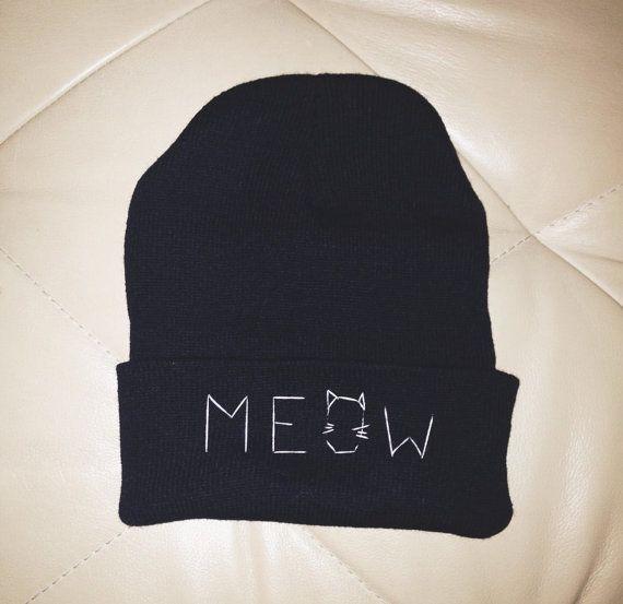Black MEOW Cat Beanie by ZHUU on Etsy, $15.00