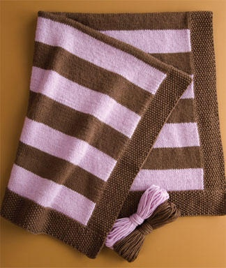 Easy Striped Baby Blanket Knitting Pattern : Craft Project: Striped Baby Blanket