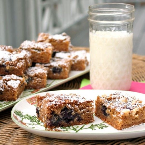 Blueberry White Chocolate Blondies | A Spicy Perspective #BlondieDay