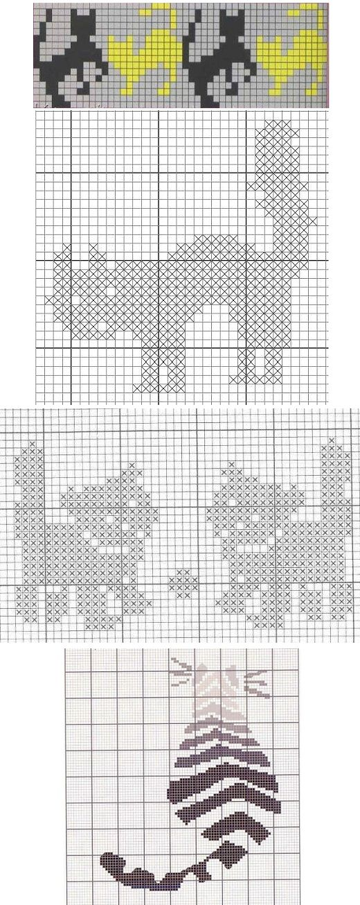 Орнамент кошки для вязания спицами схемы 79