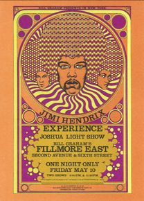 JIMI HENDRIX EXPERIENCE  May 10, 1968    Fillmore East, New York  Artist: Fantasy Unlimited    Oranges and purples and a crazy Magic Eye-type effect on Jimi's hair, this is the psychedelic rock poster art at its most disorienting.