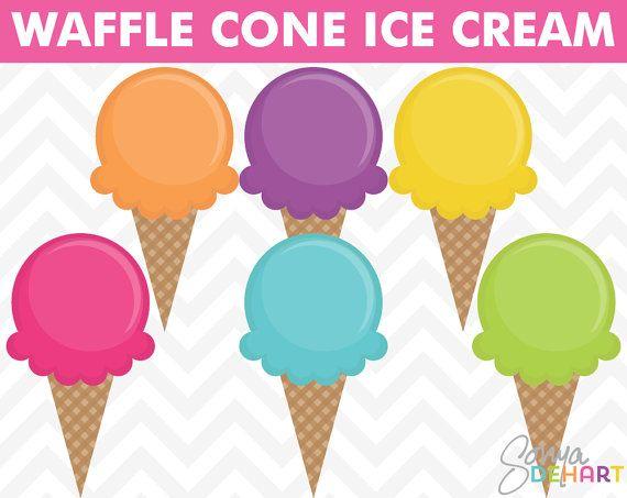 Clip Art Ice Cream Waffle Cones Summer Clipart Instant ...