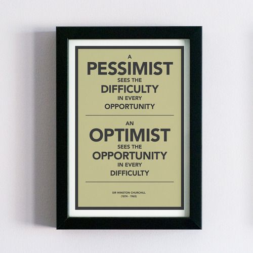 Winston Churchill quote Optimism vs pessimism