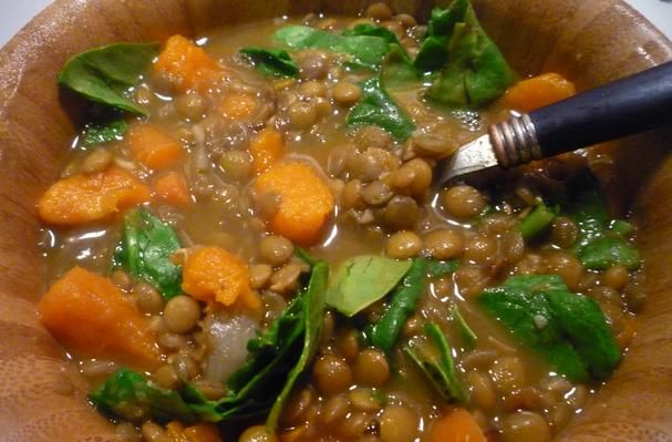 Lentil, Sweet Potato and Spinach Soup