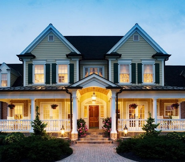 Awesome front porch w lighting home exteriors porches for Big gorgeous houses