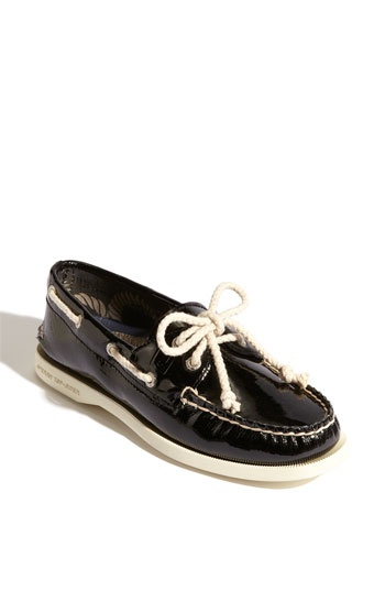 Patent leather boat shoe, perfect for work.