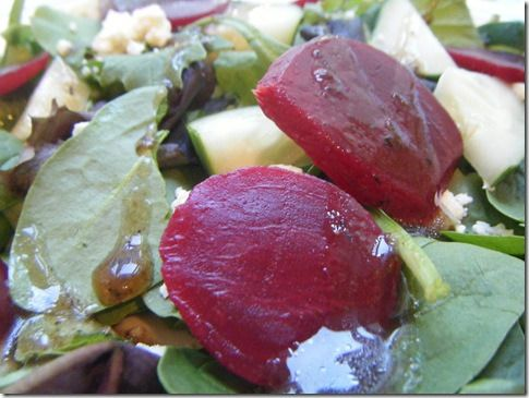 and Beet Salad Mixed greens Baby spinach Sliced cucumber Sliced beets ...