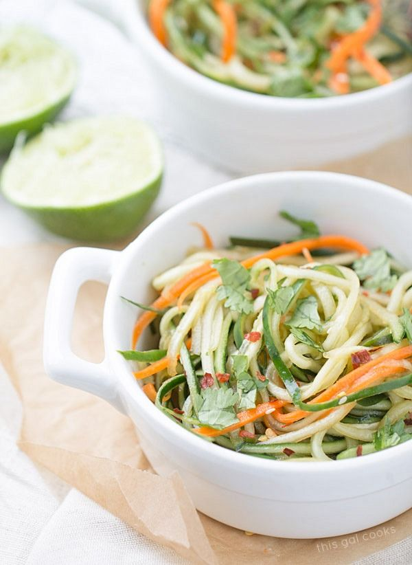 Cucumber Noodles + Spicy Sesame Soy Dressing | Recipe