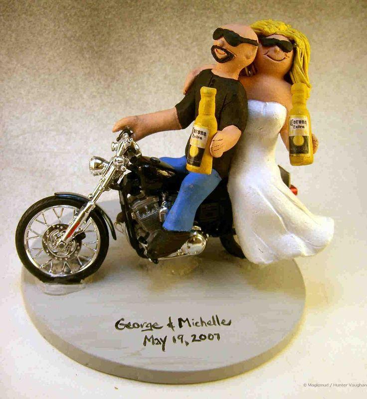 Motorcycle Riders Wedding Cake Topper