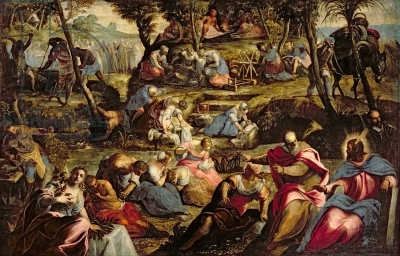 The Miraculous Fall of Manna, by Tintoretto (oil on canvas) in San Giorgio Maggiore, Venezia