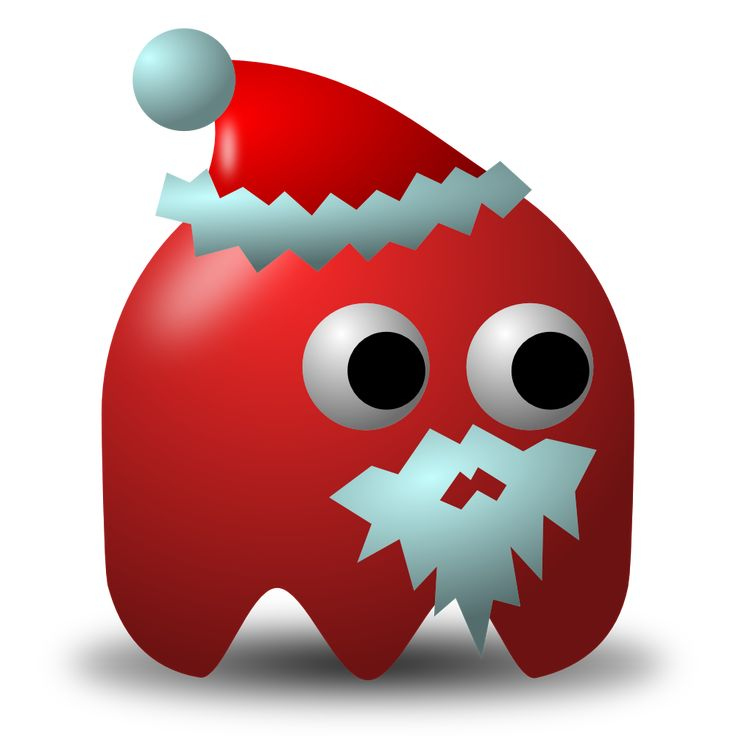 Pacman red ghost #Santa with hat and beard. #Free #clipart