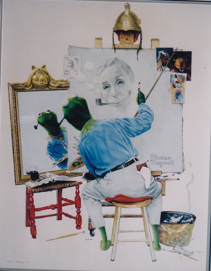 """An art history parody titled """"Noman Frogwell"""" - combining 2 American Art Iconic creations in a tribute to their talent. Original Drawing by Victor Anonsen"""