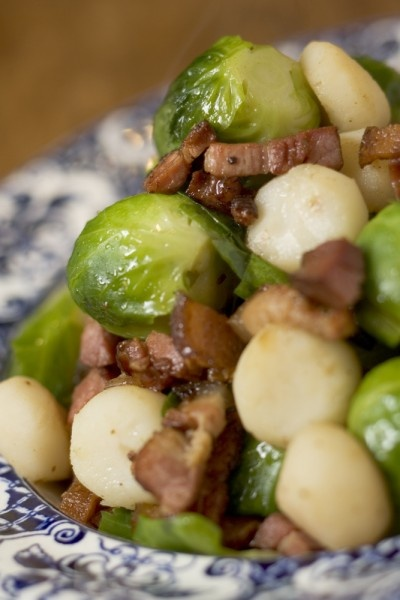 Braised Brussels Sprouts with Bacon Batons and Water Chestnuts
