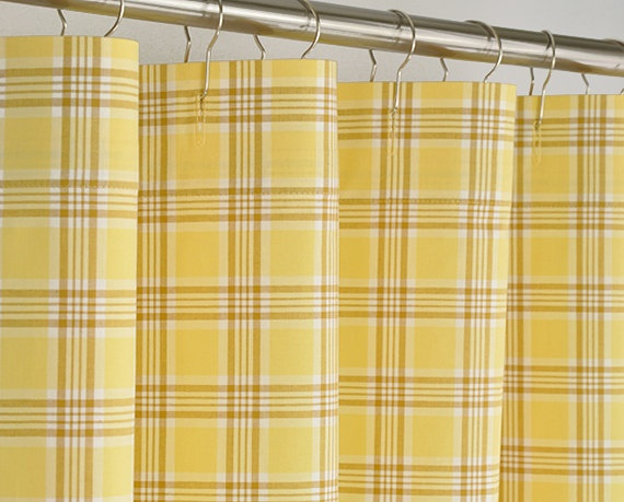 yellow plaid shower curtain 72 x 72