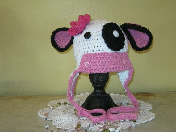Hat Miss Molly Moo Cow by ForgetMeKnotsCrochet on Etsy, $25.00