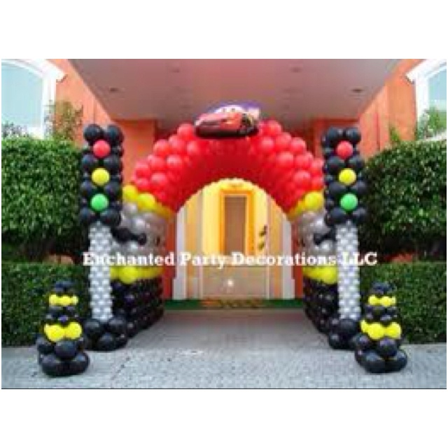 Perfect for a cars theme birthday party balloon for Balloon decoration cars theme