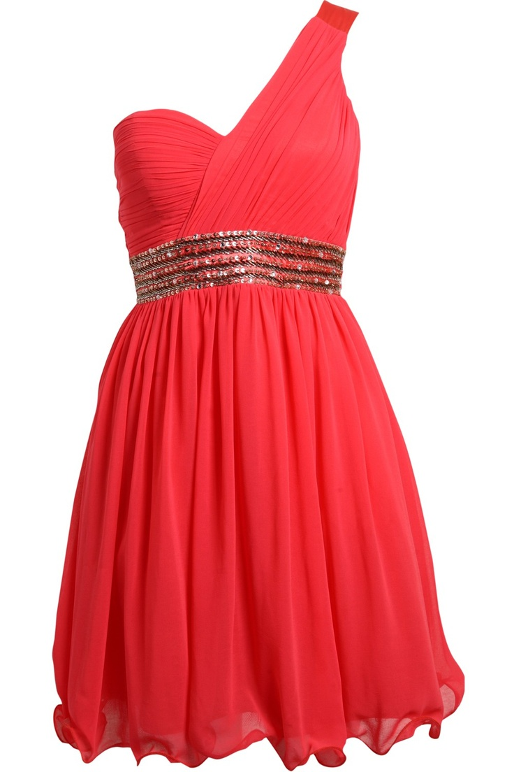 Lizzy	    Coral One Shoulder Dress