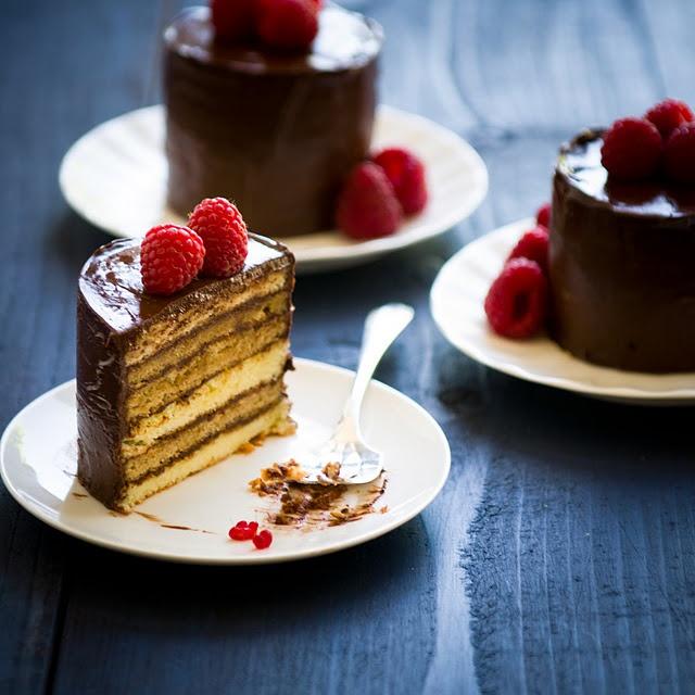 raspberry mocha dobos torte-lettes | mini cakes | Pinterest