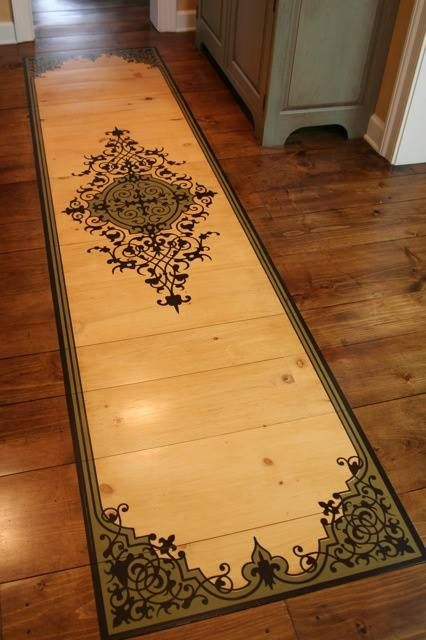 Stained and stenciled wood floor with a modello designs - Painting with stencils on wood ...