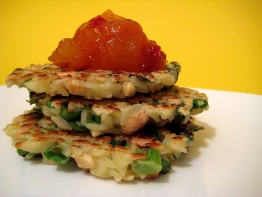 Thai Rice Pancakes (vegan w/ egg replacer)