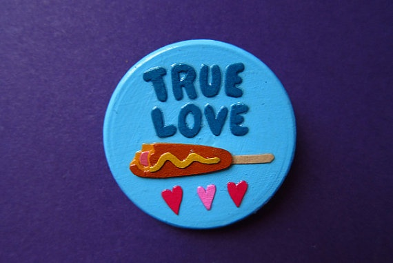 TASTY CORNDOG LOVE papercut pin by littlebearclaw on Etsy, $20.00