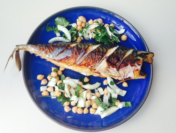 Pan fried mackerel with a chickpea, fennel, lime and fresh coriander ...