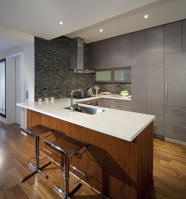 Quartz countertop in modern kitchen -- so sleek, so nice!