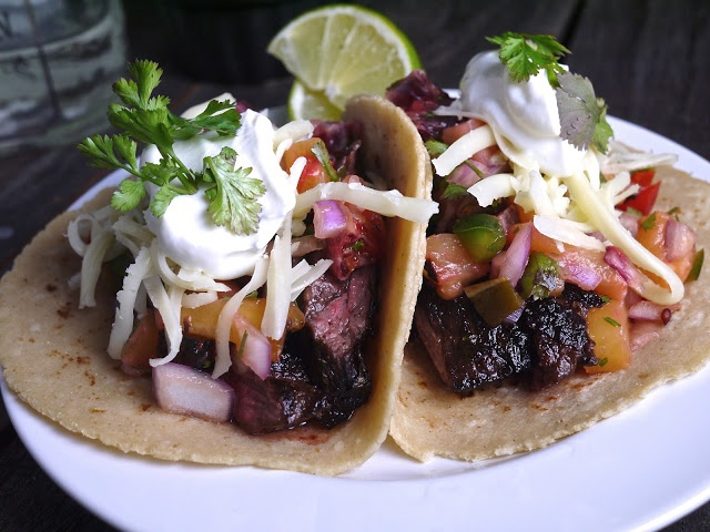 Blood Orange and Tequila Marinated Skirt Steak Tacos with Roasted ...