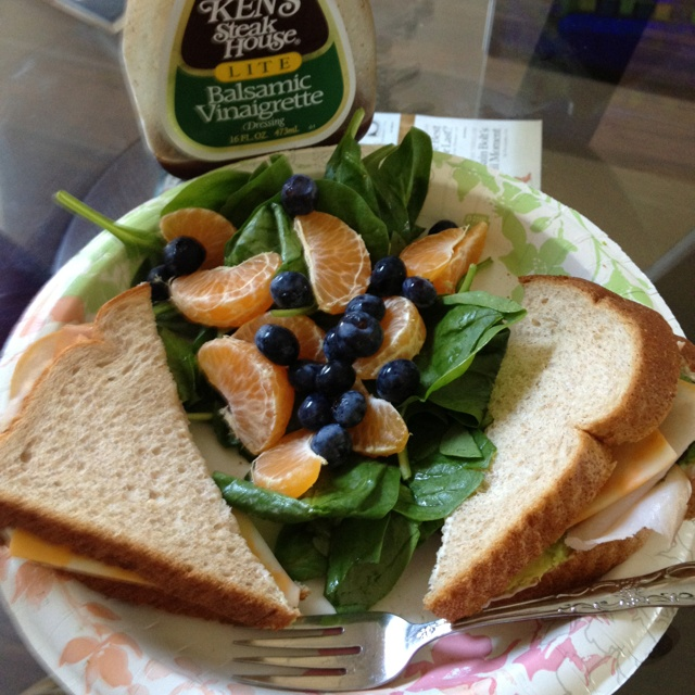 ... and avocado sandwich with a side of spinach-blueberry- orange salad