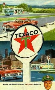 "The big, bright Texaco star!""  (You can trust your car to the man who wears the star--THE BIG BRIGHT TEXACO STAR!)"