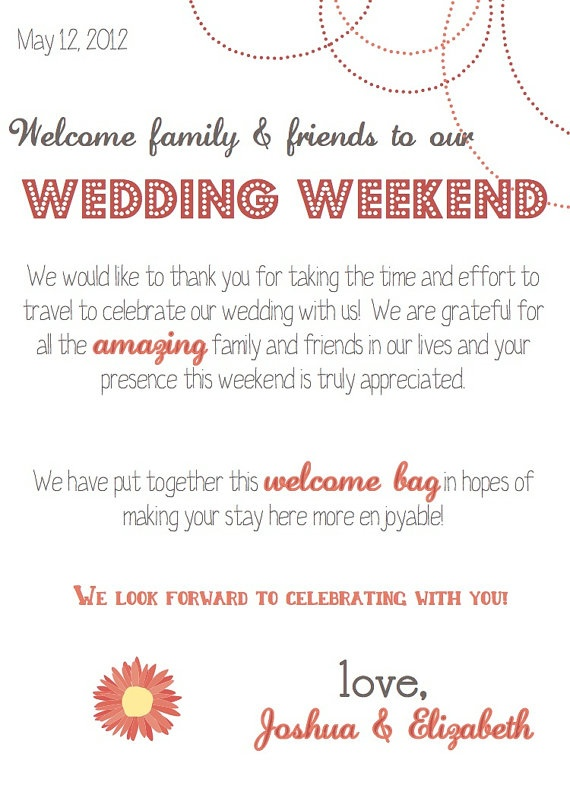 Thank You Letter For Wedding Gift Bags : Wedding Weekend Gift Bag Thank You note Wedding Ideas Pinterest