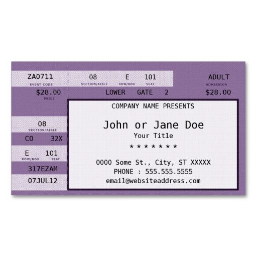 Purple concert ticket for Make your own concert tickets