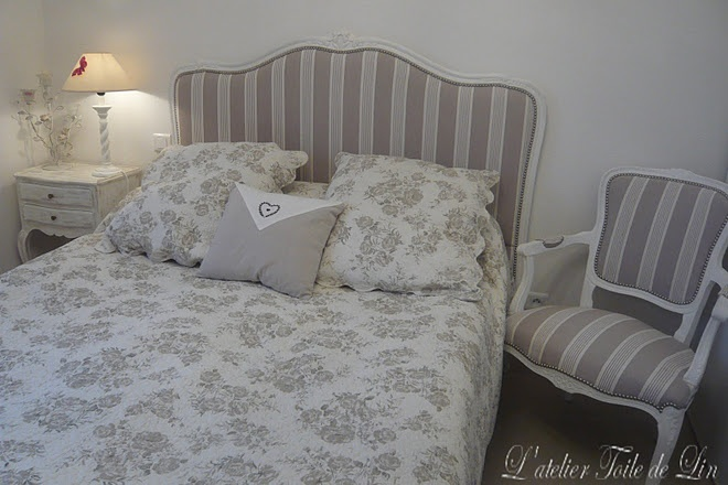Fabric covered headboard and chair  home  Pinterest