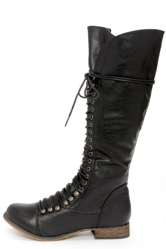 35 black lace up knee high boots