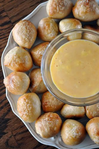Pretzel Bites with Spicy Cheddar Cheese Dip