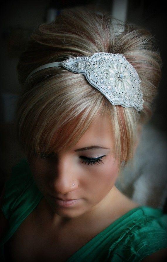 I love this simple but elegant hair accessory Rhinestone Pearl Headband JACKIE bridal wedding hair by BrassLotus, $34.95
