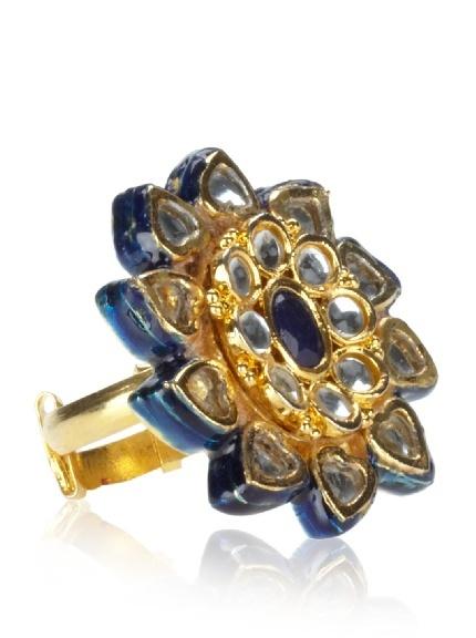 Blue Crystal & Enameled Adjustable Flower Ring