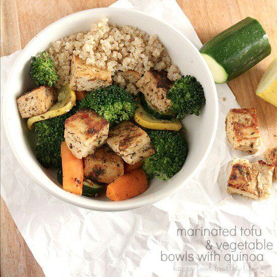 Marinated Tofu & Vegetable Bowl over Quinoa - Happy Food, Healthy Life