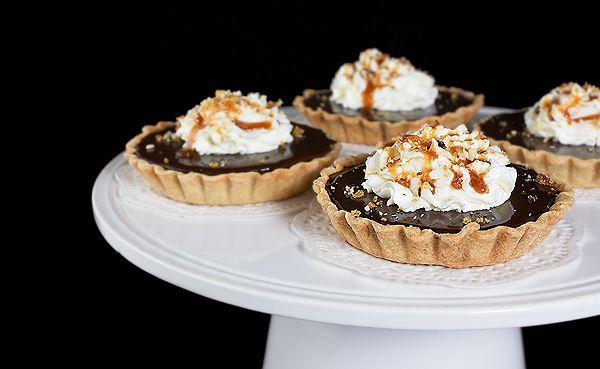 Chocolate-Caramel Tarts with Hazelnuts, Milk Chocolate Glaze and ...