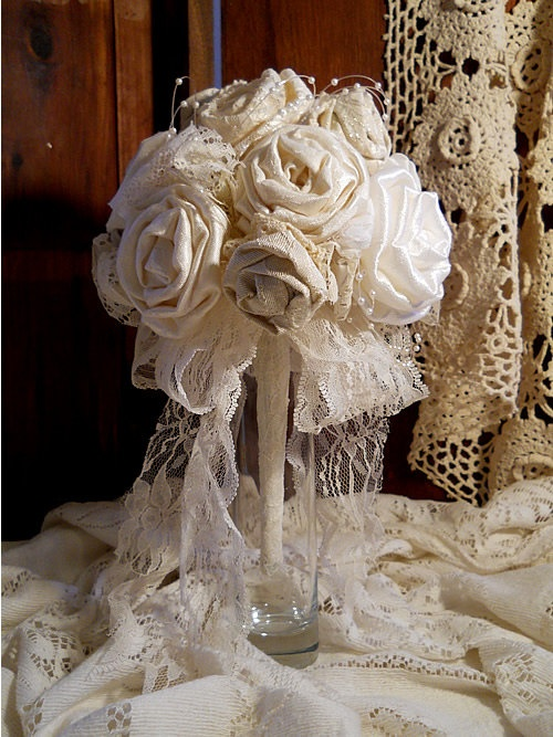 Beautiful Victorian Bridal Bouquet Handmade Of Vintage Fabrics And