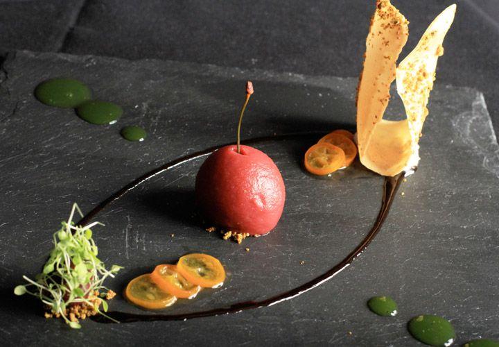 ... , sour cherry jam, pistachio tuile cookie, white truffle oil mousse