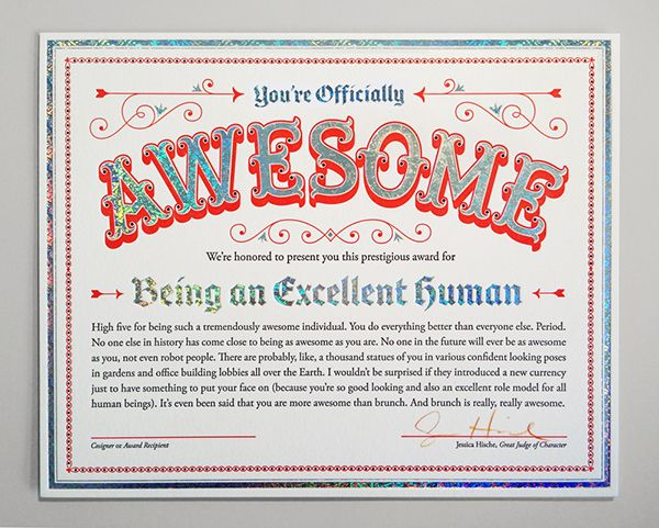 Certificate of awesome by jessica hische ha magic pinterest for Certificate of awesomeness template