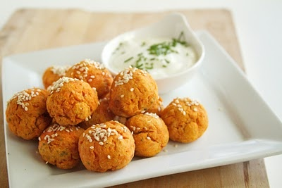 Baked Sweet Potato Falafels. whats a falafel? i dont care, its sweet ...