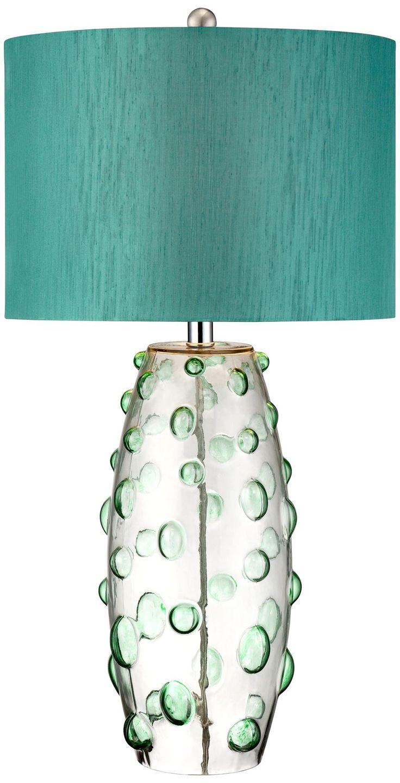 Possini Euro Design Teal Art Glass Table Lamp -